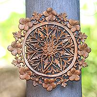 Wood relief panel, 'Plumeria Mandala' - Floral Mandala Suar Wood Relief Panel Crafted in Bali