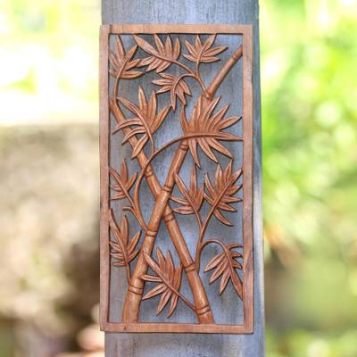 Wood relief panel, 'Bamboo Trees' - Bamboo-Themed Suar Wood Relief Panel Crafted in Bali