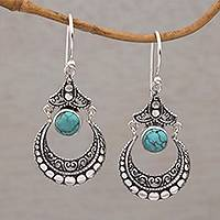 Magnesite dangle earrings, 'Elegant Crescents' - Magnesite Crescent Dangle Earrings Crafted in Bali