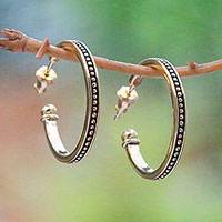 Gold plated sterling silver half-hoop earrings, 'Vintage Loop' (1 inch) - 18k Gold Plated Sterling Silver Half-Hoop Earrings (1 inch)