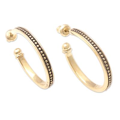 Gold plated sterling silver half-hoop earrings, 'Vintage Loop' (1 inch) - 18k Gold Plated Sterling Silver Half-Hoop Earrings (1 inch)
