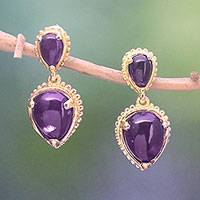 Gold plated amethyst dangle earrings, 'Vintage Ace'