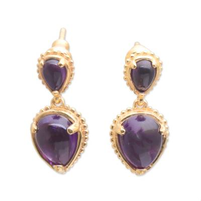 Gold plated amethyst dangle earrings, 'Vintage Ace' - 18k Gold Plated Amethyst Dangle Earrings from Bali