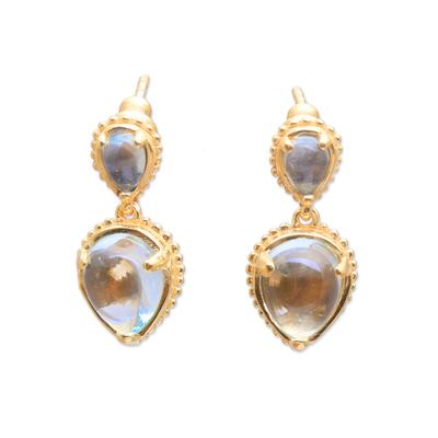 Gold plated blue topaz dangle earrings, 'Vintage Ace' - 18k Gold Plated Blue Topaz Dangle Earrings from Bali