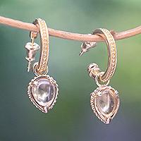 Gold plated citrine dangle earrings,