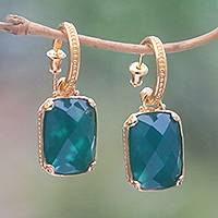 Gold plated onyx dangle earrings, 'Forest Lake' - 24.5-Carat Gold Plated Onyx Dangle Earrings from Bali