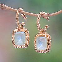 Gold plated prehnite dangle earrings, 'Buddha Curl Memories' - 18k Gold Plated Prehnite Buddha Curl Earrings from Bali