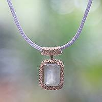 Gold accented prehnite pendant necklace, 'Buddha's Curl Memories'