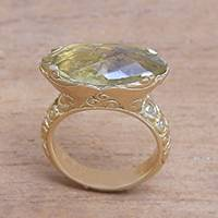 Gold plated lemon quartz cocktail ring, 'Glittering Boat'