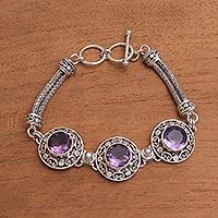 Amethyst and cultured pearl pendant bracelet, 'Temple Roof' - 10-Carat Amethyst and Cultured Pearl Pendant Bracelet
