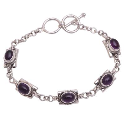 Amethyst link bracelet, 'Regal Domes' - Oval Amethyst Link Bracelet from Bali