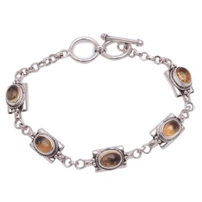 Citrine link bracelet, 'Rich Domes' - Oval Citrine Link Bracelet from Bali