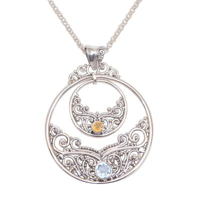 Blue topaz and citrine pendant necklace, 'Elegant Horizon' - Blue Topaz and Citrine Pendant Necklace Bali