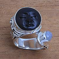 Rainbow moonstone cocktail ring, 'Night Face' - Rainbow Moonstone and Bone Face Cocktail Ring from Bali