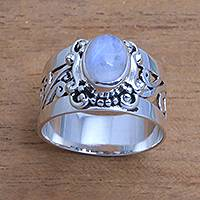 Rainbow moonstone cocktail ring, 'Lost Light'
