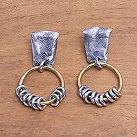 Sterling silver dangle earrings, 'Nine Rings' - Modern Sterling Silver and Brass Dangle Earrings from Bali