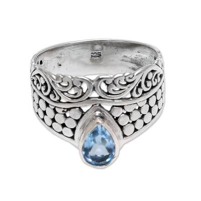 Circle Motif Blue Topaz Band Ring from Bali