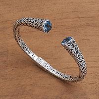 Blue topaz cuff bracelet, 'A Glimpse of Sky'