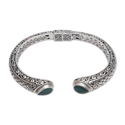 Agate cuff bracelet, 'Drops of Rain' - Agate and Sterling Silver with Multiple Motifs Cuff Bracelet