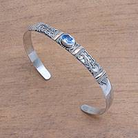 Blue topaz and 18k gold accent cuff bracelet, 'Fanciful Fronds' - Blue Topaz 18K Gold Accent on Sterling Silver Cuff Bracelet