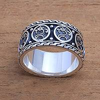 Men's sterling silver band ring, 'Omkara Blessing'