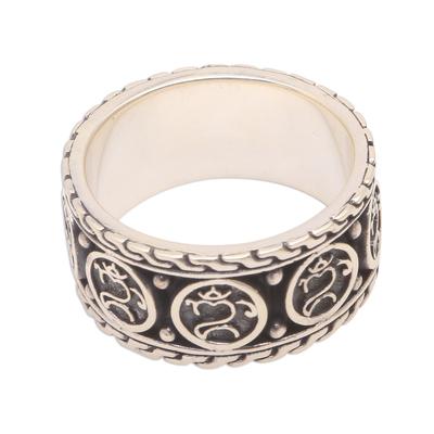 Men's sterling silver band ring, 'Omkara Blessing' - Men's Sterling Silver Om Band Ring from Bali