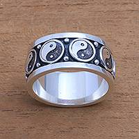 Men's sterling silver band ring, 'Peace Be With You' - Men's Sterling Silver Yin and Yang Band Ring from Bali