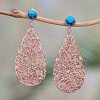 Rose gold plated magnesite dangle earrings, 'Nested Teardrops' - Teardrop Rose Gold Plated Magnesite Earrings from Bali