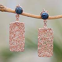 Rose gold plated magnesite dangle earrings, 'Nested Rectangles' - Rectangular Rose Gold Plated Magnesite Earrings from Bali