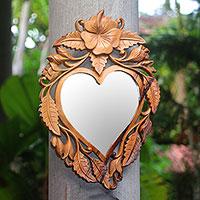 Wood wall mirror, 'Jepun Heart'