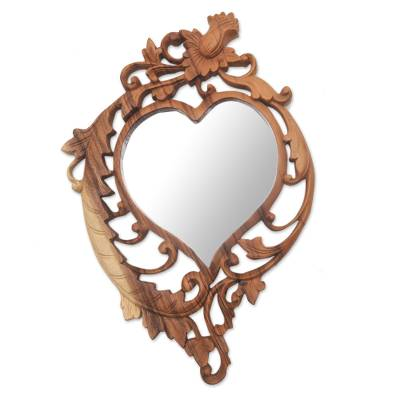 Wood wall mirror, 'Lotus Heart' - Heart-Shaped Floral Pattern Wood Wall Mirror from Bali