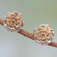 Gold plated sterling silver stud earrings, 'Blooming Rose' (.4 inch)