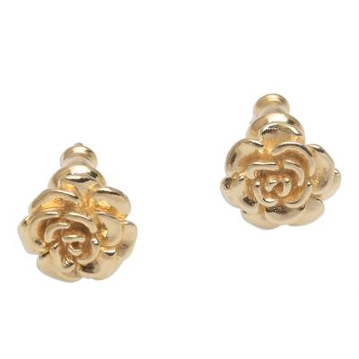 Gold plated sterling silver stud earrings, 'Blooming Rose' (.4 inch) - 18k Gold Plated Sterling Silver Rose Stud Earrings (.4 inch)