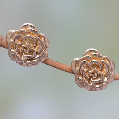 Gold plated sterling silver stud earrings, Blooming Rose (.5 inch)