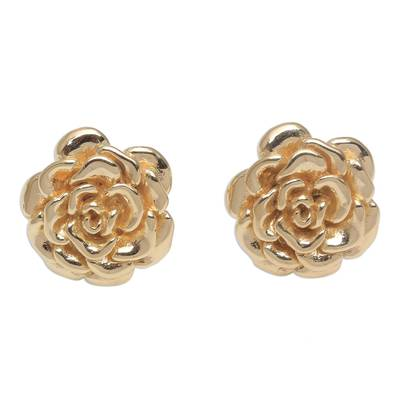 18k Gold Plated Sterling Silver Rose Stud Earrings (.5 inch)