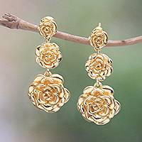 Gold plated sterling silver dangle earrings, 'Blooming Rose Trio' - Rose Trio 18k Gold Plated Sterling Silver Dangle Earrings