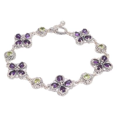 Multi-gemstone reversible link bracelet, 'Petals of Fortune' - Multi-Gemstone Reversible Link Bracelet from Bali