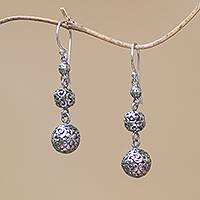 Sterling silver dangle earrings, 'Plumeria Baubles' - Sterling Silver Bauble Dangle Earrings from Bali