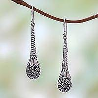 Sterling silver dangle earrings, 'Plumeria Drops' - Frangipani Flower Sterling Silver Dangle Earrings from Bali