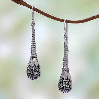 Sterling silver dangle earrings, Plumeria Drops