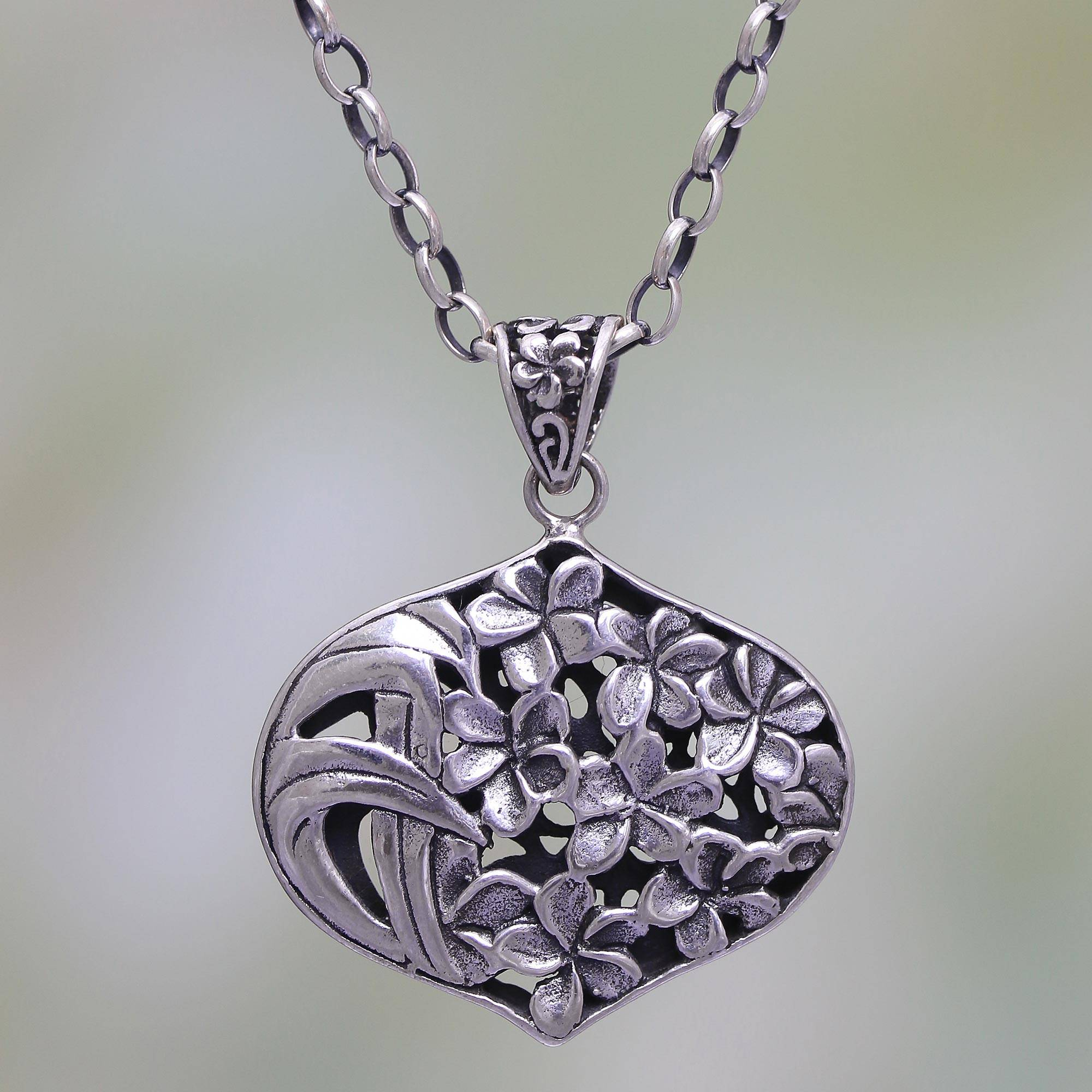 Frangipani Flower Sterling Silver Pendant Necklace From Bali