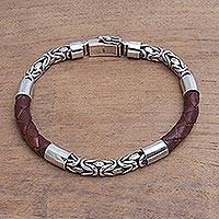 Men's sterling silver and leather bracelet, 'Strong Unity in Brown' - Men's Sterling Silver and Leather Bracelet in Brown
