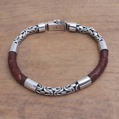 Mens sterling silver and leather bracelet, Strong Unity in Brown
