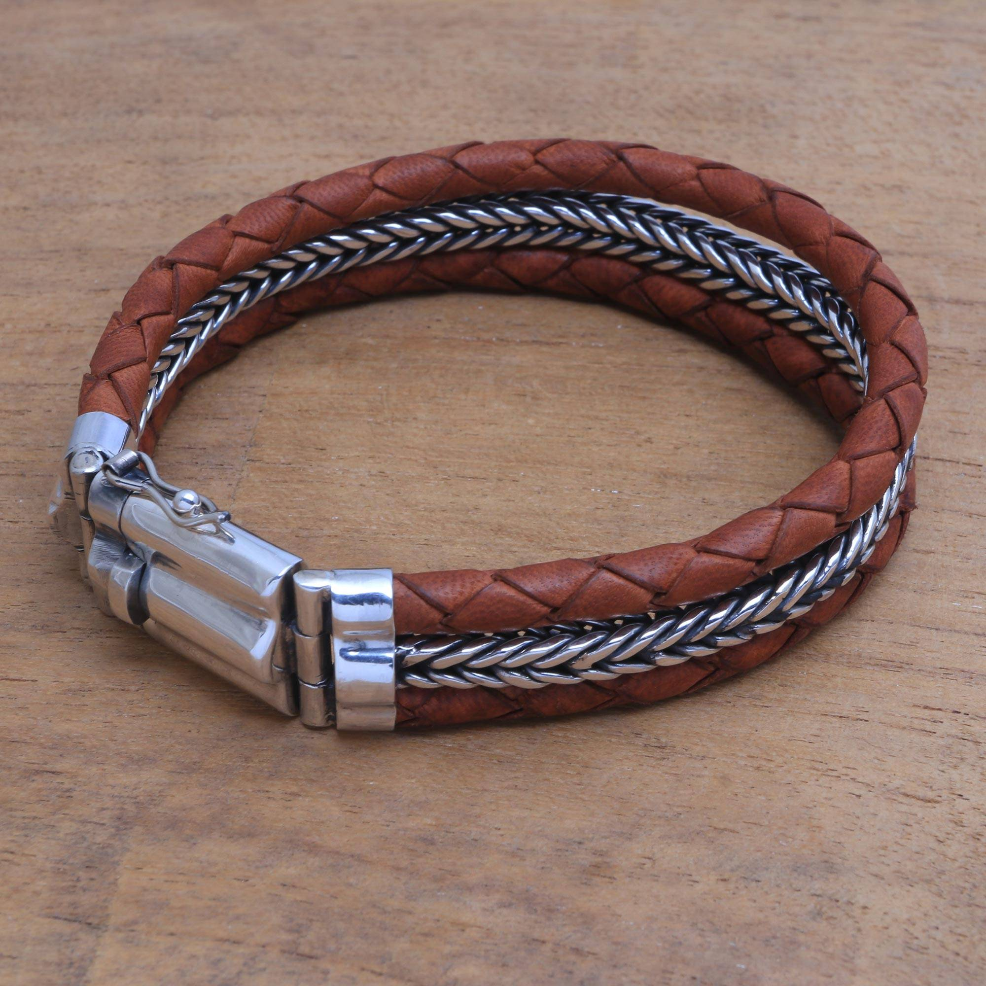 Men S Sterling Silver And Brown Leather