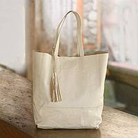 Leather tote, 'Sumatra Style' - Stylish Leather Tote Handbag in Alabaster from Bali
