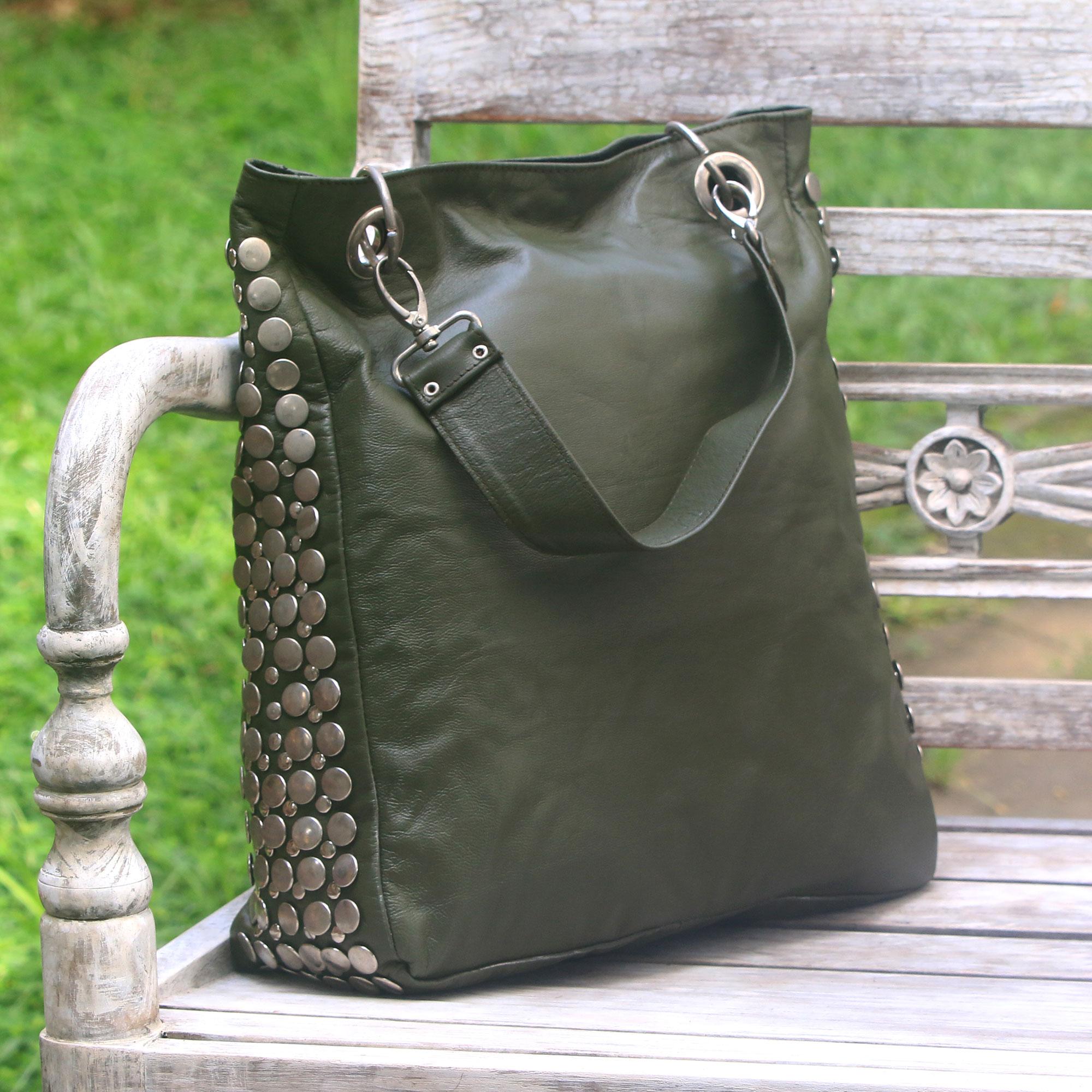 Black Leather Studded Shoulder Bag