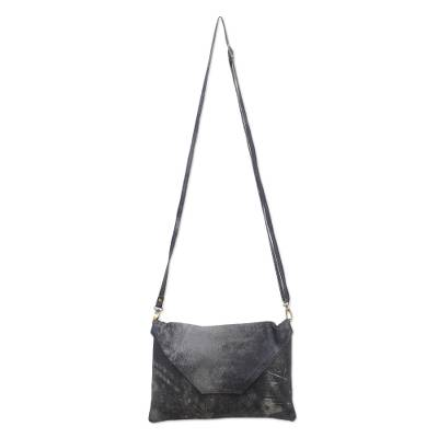 Envelope-Shaped Leather Sling in Ebony from Bali