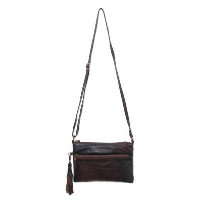 Artisan Crafted Leather Sling in Espresso from Bali
