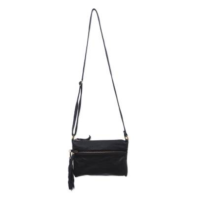 Leather sling, 'Vintage Pouch in Ebony' - Artisan Crafted Leather Sling in Ebony from Bali