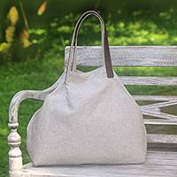 Leather accented cotton tote, 'Oyster Style' - Leather Accent Cotton Tote in Solid Oyster from Java